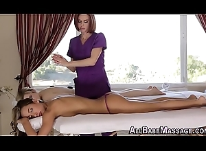 Elder masseuse tasting