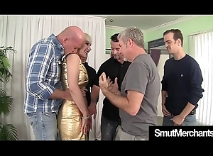 Matured light-complexioned group-fucked bukkake