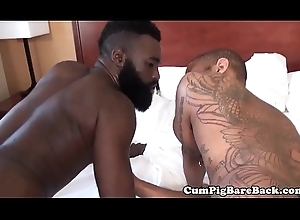 Cockpierced Negroid tarry wanks via threeway